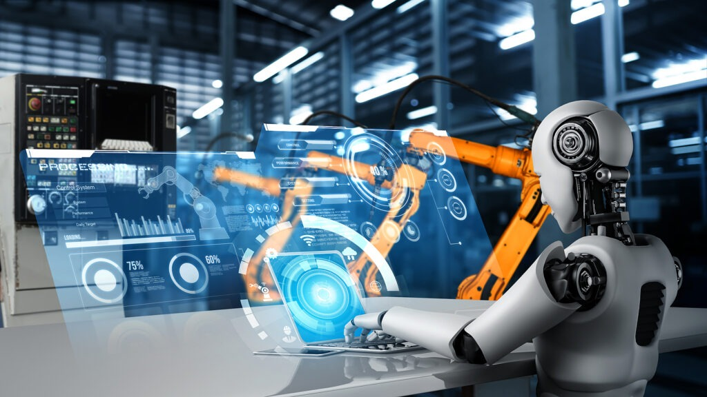 an ai robot managing automation on a factory assembly line